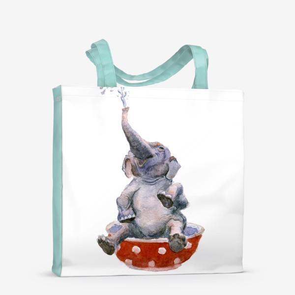 Сумка-шоппер «слон купается в посуде пиала»