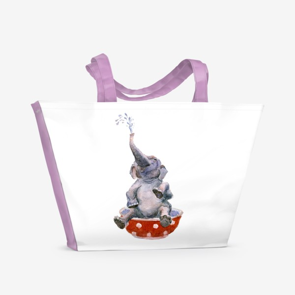 Пляжная сумка «слон купается в посуде пиала»