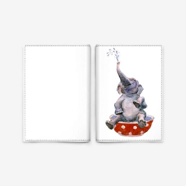 Обложка для паспорта «слон купается в посуде пиала»