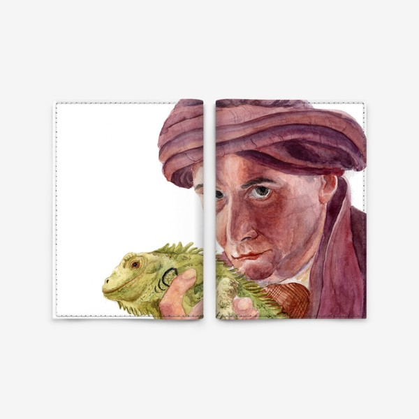 Обложка для паспорта «Профессор Квиррелл с игуаной из Гарри Поттера»