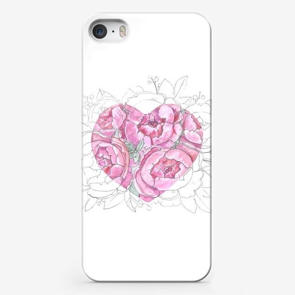 Чехол iPhone «пионовое сердце»