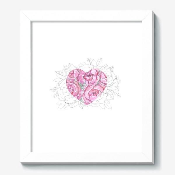 Картина «пионовое сердце»