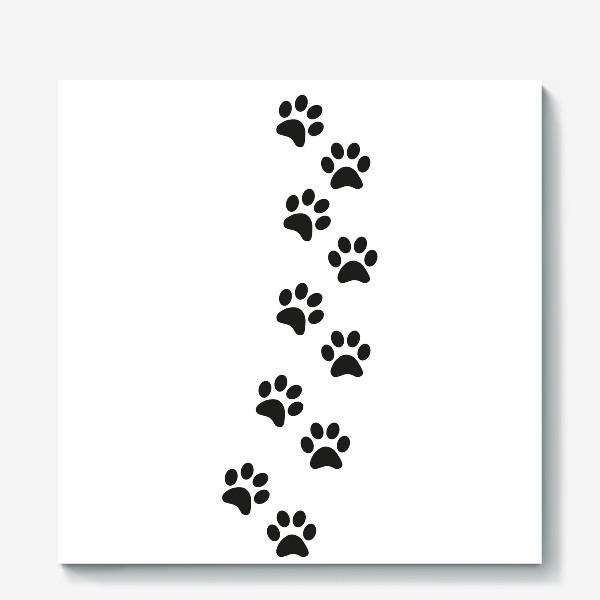 Холст «Лапки кошки/собачки, следы»