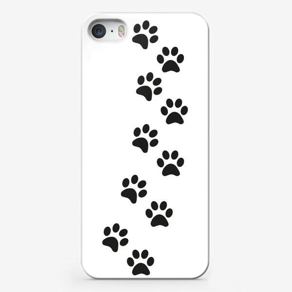 Чехол iPhone «Лапки кошки/собачки, следы»