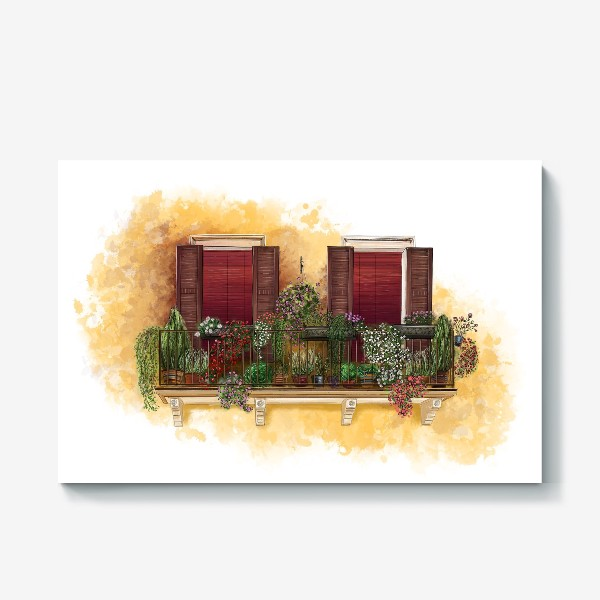 Холст «Уютные окна Италии.»