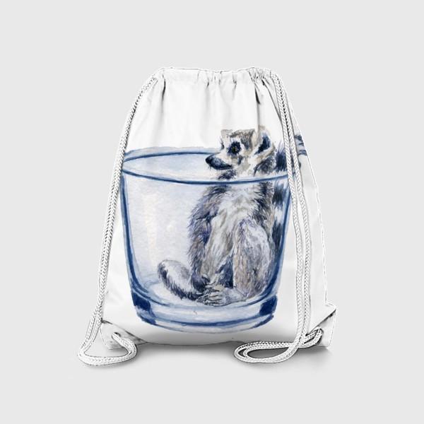 Рюкзак «Лемур в стакане отдыхает»