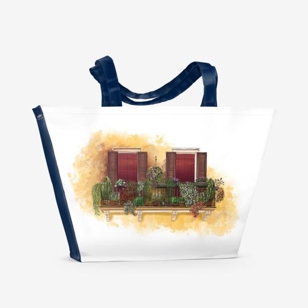 Пляжная сумка «Уютные окна Италии.»