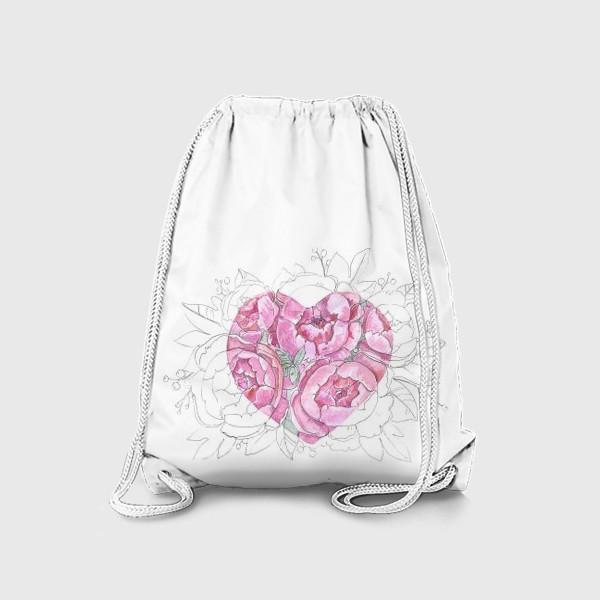 Рюкзак «пионовое сердце»
