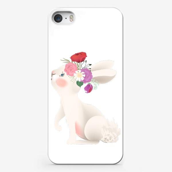 Чехол iPhone «Зайчик с венком из цветов»