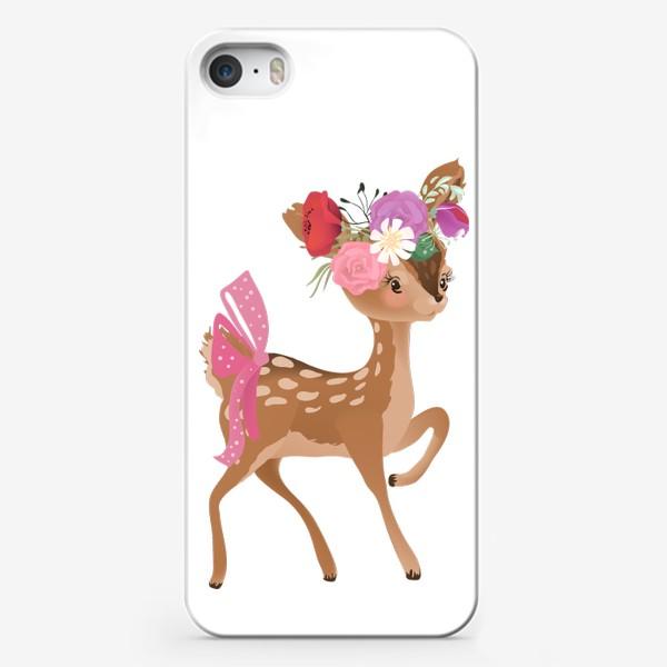 Чехол iPhone «Олененок с цветами»
