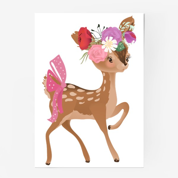 Постер «Олененок с цветами»
