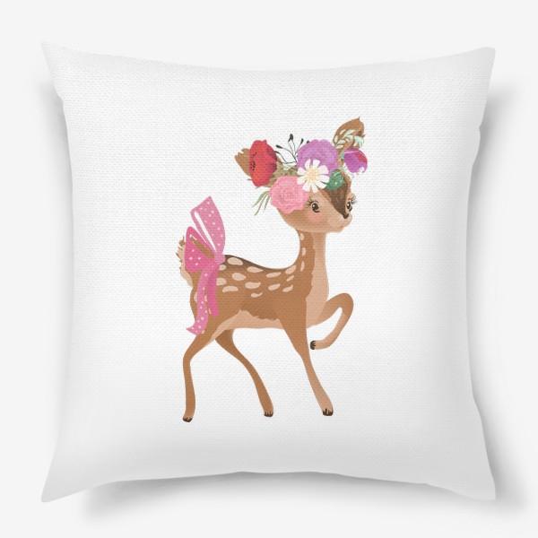 Подушка «Олененок с цветами»