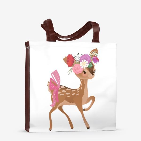 Сумка-шоппер «Олененок с цветами»