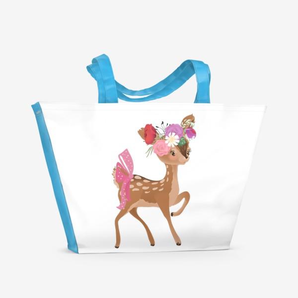 Пляжная сумка «Олененок с цветами»