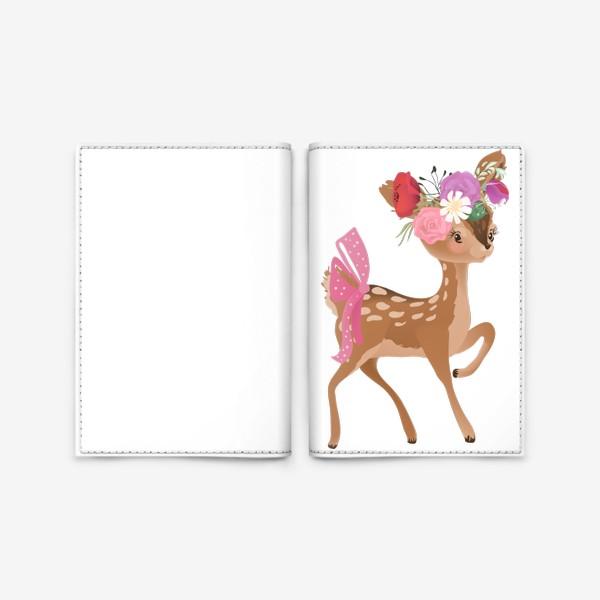 Обложка для паспорта «Олененок с цветами»