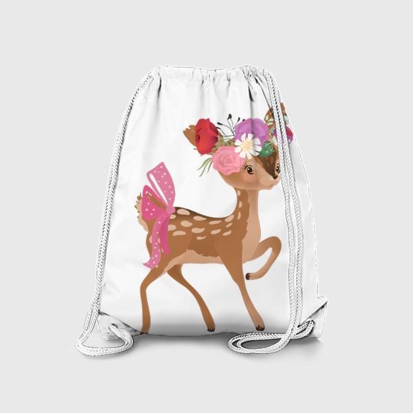 Рюкзак «Олененок с цветами»