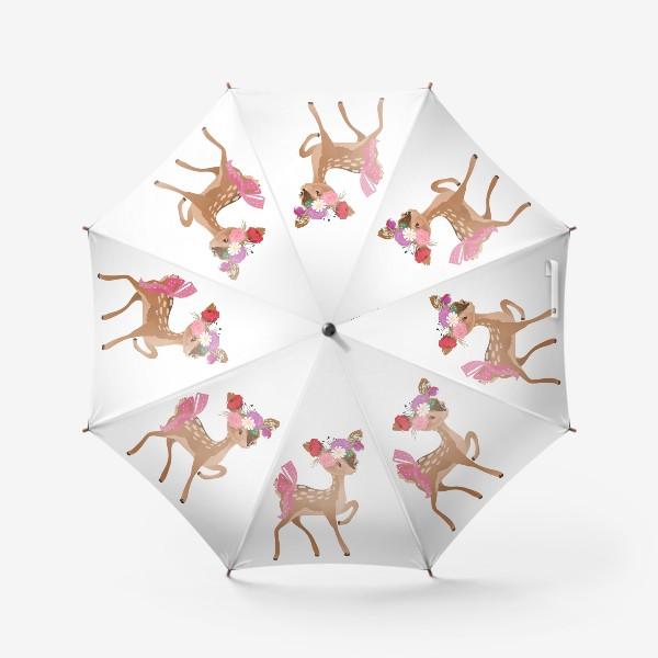 Зонт «Олененок с цветами»