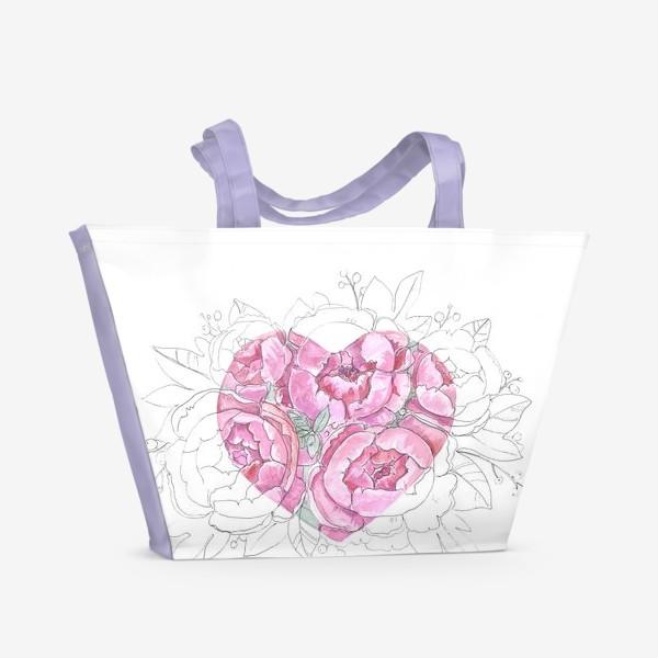 Пляжная сумка «пионовое сердце»
