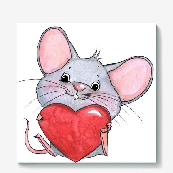 Холст «мышонок с сердцем»