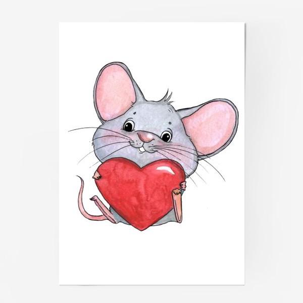 Постер «мышонок с сердцем»