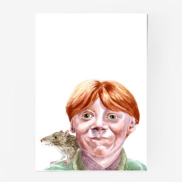 Постер «Рон Уизли из Гарри Поттера  и его крыса Короста»