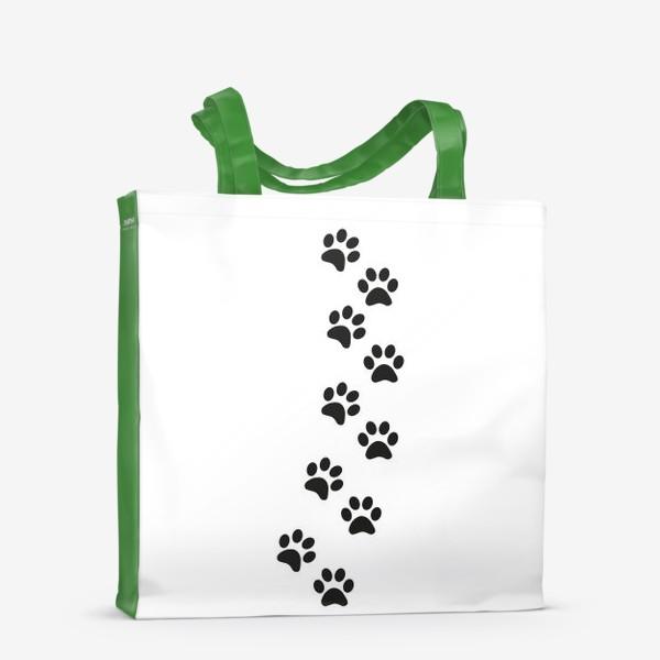 Сумка-шоппер «Лапки кошки/собачки, следы»