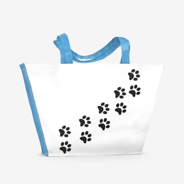 Пляжная сумка «Лапки кошки/собачки, следы»