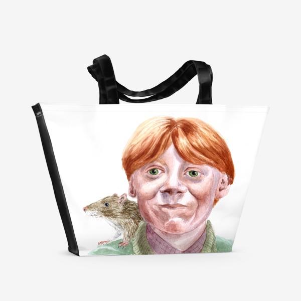 Пляжная сумка «Рон Уизли из Гарри Поттера  и его крыса Короста»