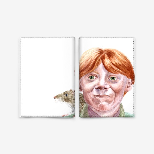 Обложка для паспорта «Рон Уизли из Гарри Поттера  и его крыса Короста»