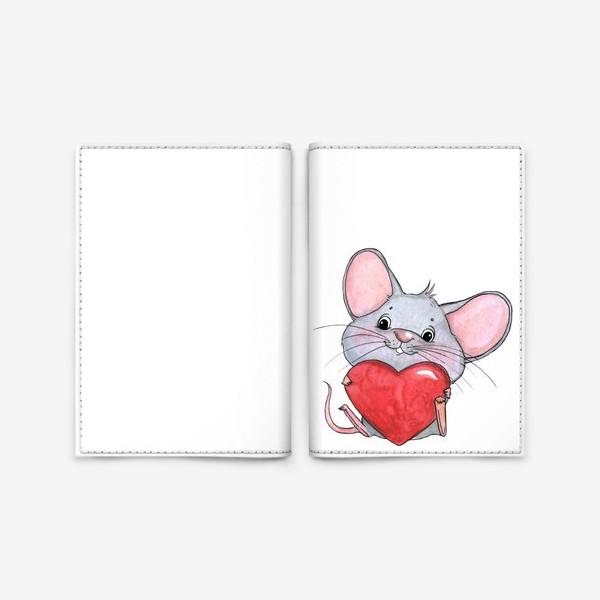 Обложка для паспорта «мышонок с сердцем»