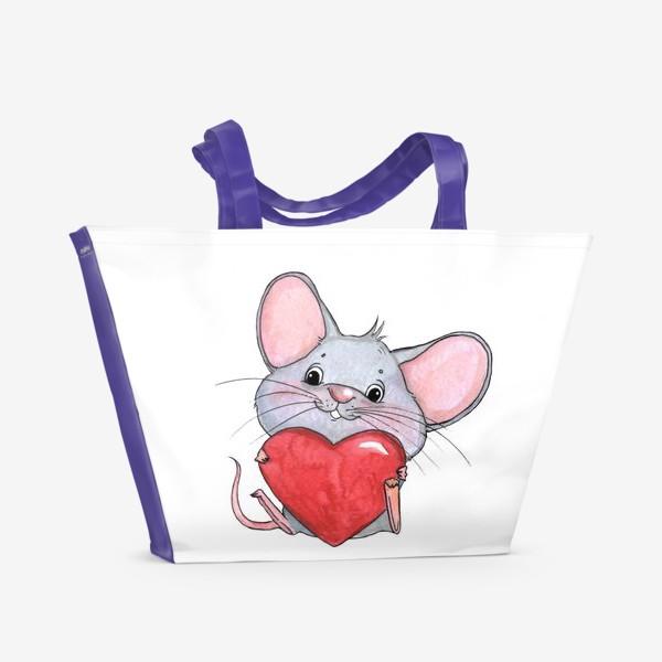 Пляжная сумка «мышонок с сердцем»