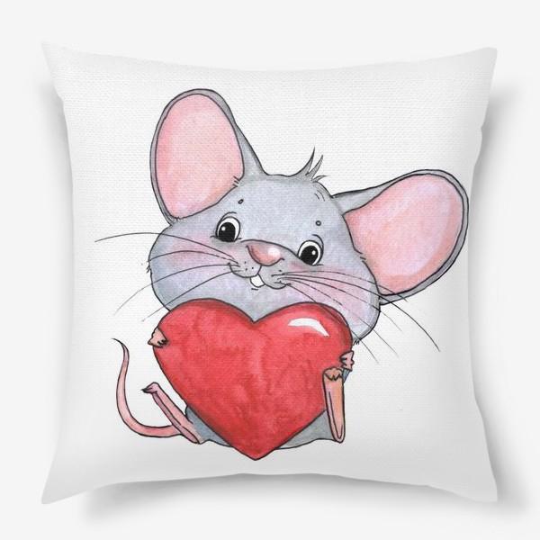 Подушка «мышонок с сердцем»