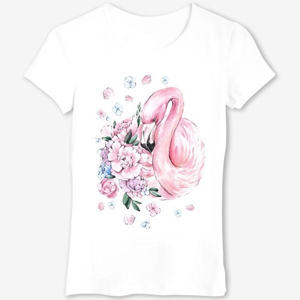 Футболка «Фламинго с цветами»