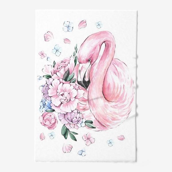Полотенце «Фламинго с цветами»