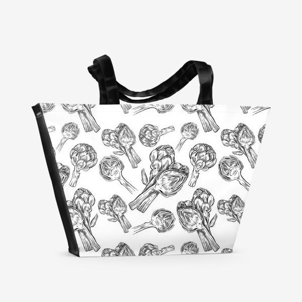 Пляжная сумка «Паттерн Артишоки»