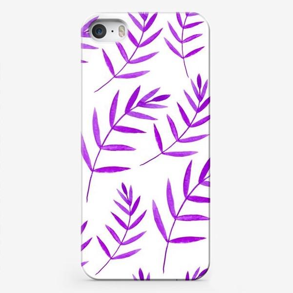 Чехол iPhone «Сиреневые тропические листья»