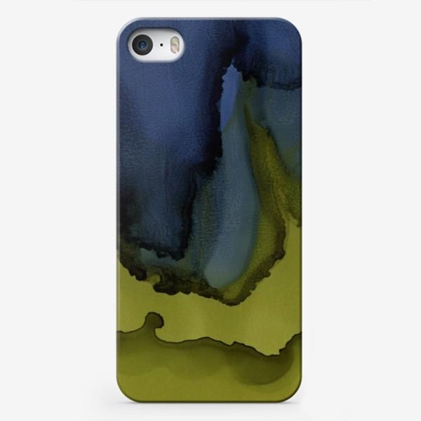 Чехол iPhone «Магия цвета. Абстракция в синем и зеленом цвете. Интерьерный минимализм»