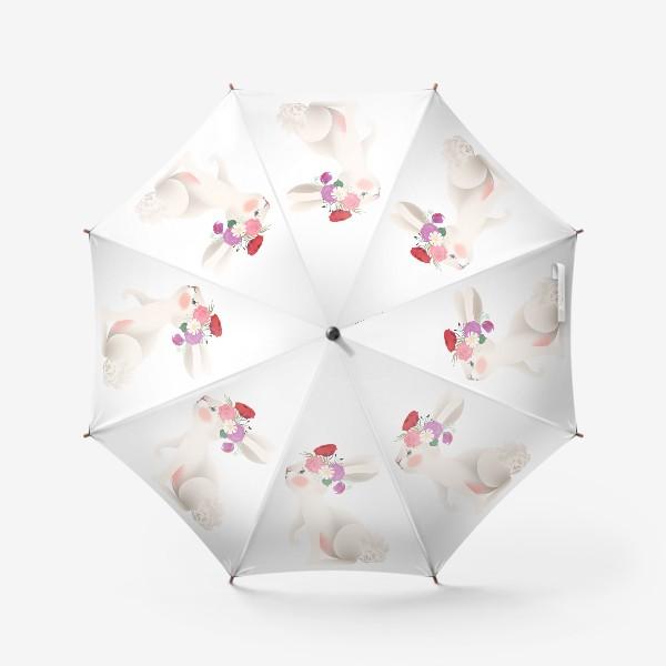 Зонт «Зайчик с венком из цветов»