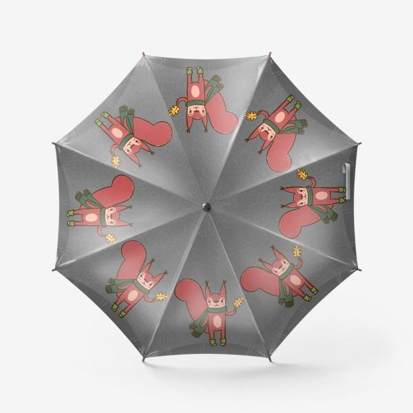 Зонт «Осенняя белка с желтым листочком»