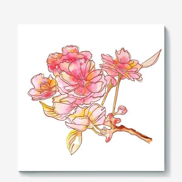 Холст «Цветы розовые»