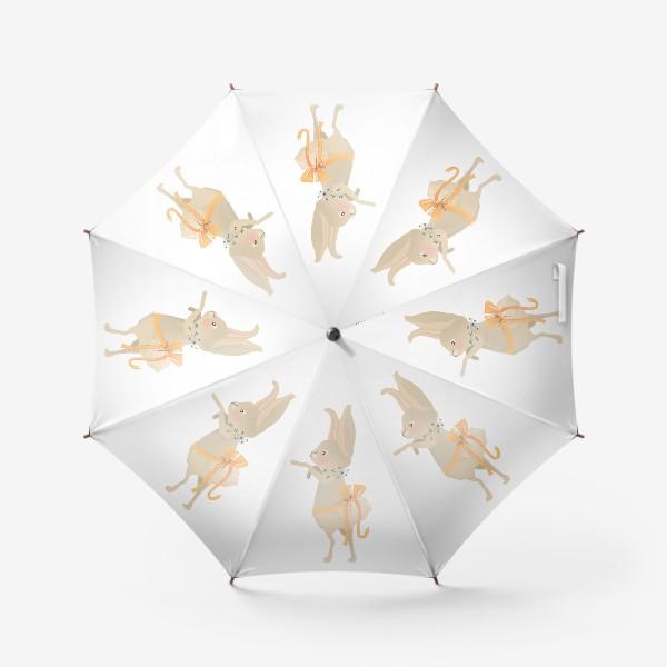 Зонт «Зайка с венком из цветов»