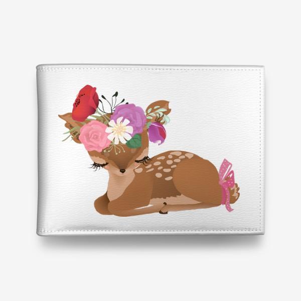Кошелек «Олененок с цветами»