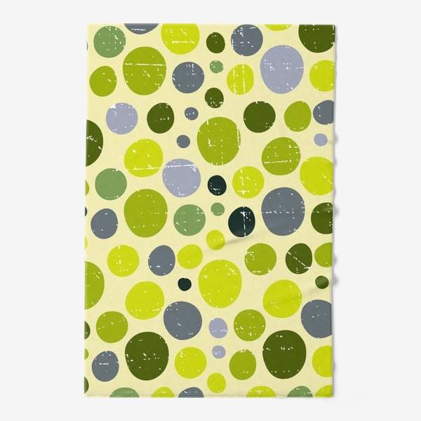 Полотенце «Круги, зеленый горох с текстурой, абстракция, иллюстрация»