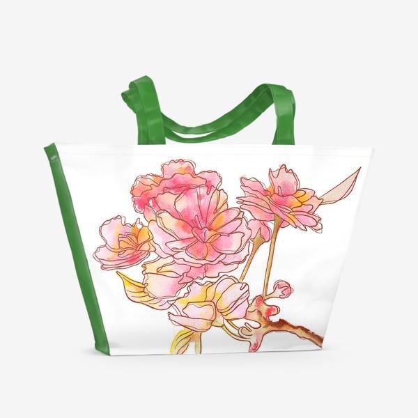 Пляжная сумка «Цветы розовые»