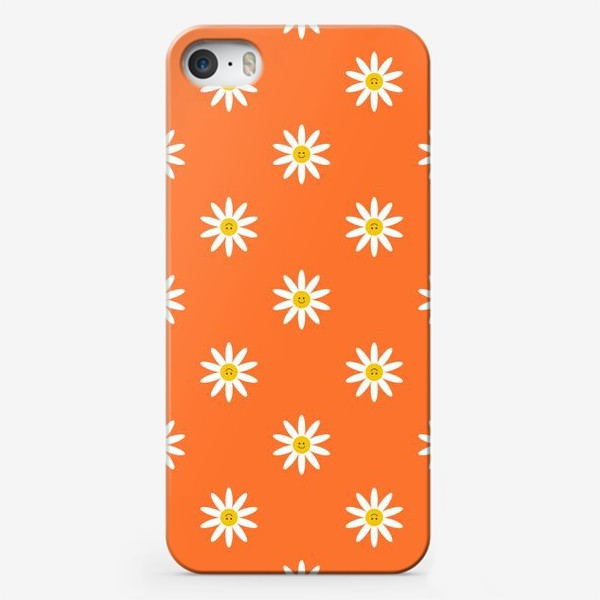 Чехол iPhone «Весёлые ромашки на оранжевом фоне. Паттерн.»