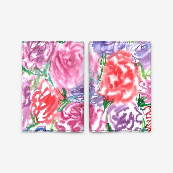 Обложка для паспорта «Узор с разноцветными розами и листьями. Акварель. Бумага. Скан.»