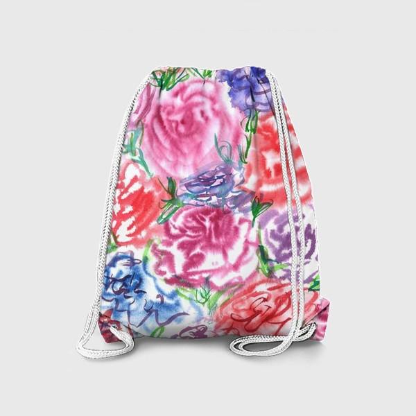 Рюкзак «Узор с разноцветными розами и листьями. Акварель. Бумага. Скан.»