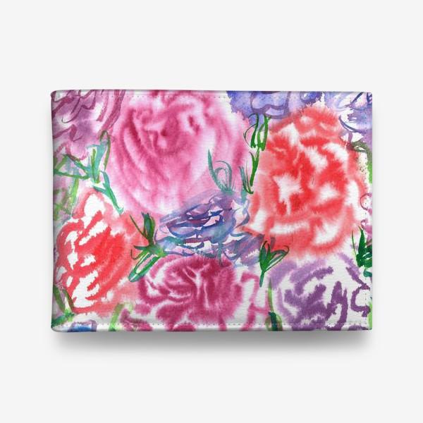 Кошелек «Узор с разноцветными розами и листьями. Акварель. Бумага. Скан.»