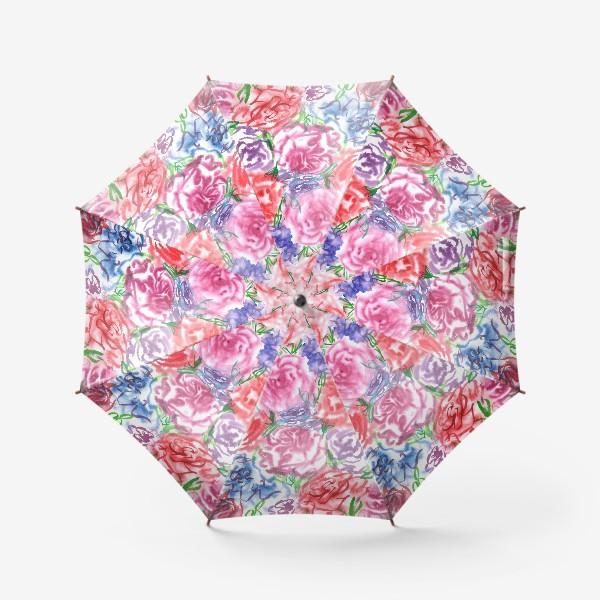 Зонт «Узор с разноцветными розами и листьями. Акварель. Бумага. Скан.»