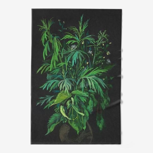 Полотенце «Зеленое на черном / Green & black»